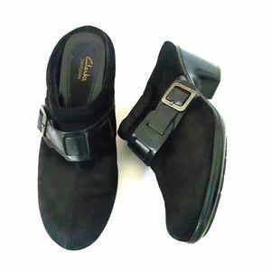 Clarks Bendable Black Suede Clog Mule Shoes